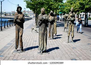JUNE 2018 - DUBLIN: the Famine Monument (by  Rowan Gillespie), Dublin, Ireland.