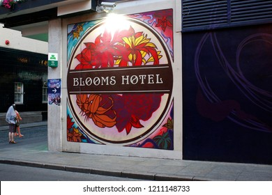 """JUNE 2018 - DUBLIN: the logo of the brand """"Blooms Hotel""""."""
