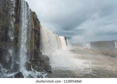 June 2018. Iguassu Falls. View of the falls on the Brazilian side during the winter on a rainy day.