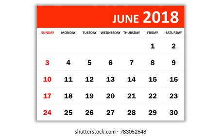 June 2018. Monthly calendar 2018 year in simple style design. Week starts from Sunday.