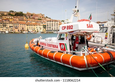 June 2018, Porto Ferraio, Italy - Italian Coast Guard boat at the port of Porto Ferraio, Isola d'Elba, Italy