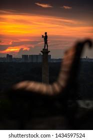 June 2019, BELGRADE SERBIA: Victor monument, known as Pobednik, standing  Belgrade historic fortress Kalemegdan