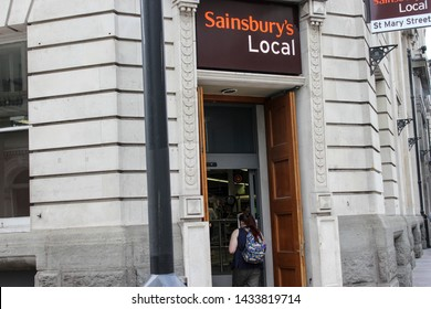 June 2019, Cardiff, Wales The entry of Sainsbury's Local Shop St Mary Street