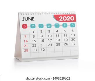 June 2020 Desktop Calendar Isolated on White