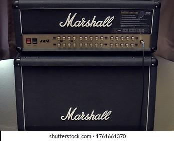 June 2020 Phoenix, Arizona USA Marshall half stack in home recording setup.