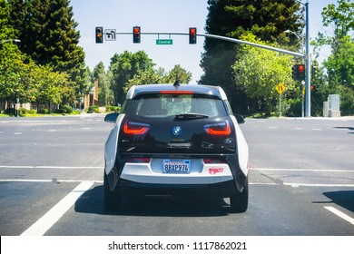 June 21, 2018 Sunnyvale / CA / USA - Back view of BMW I3 stopped at ared light in south San Francisco bay area, Silicon Valley