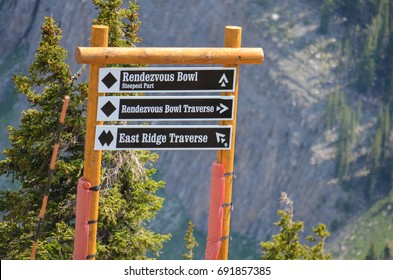 JUNE 22 2017 - JACKSON HOLE, WYOMING: Signs for black diamond and double black diamond runs at the downhill ski resort of Jackson Hole during summer months. In ski season, the runs are expert only.