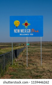 June 22, 2017: New Mexico, United States: New Mexico True Welcome Sign at the state border