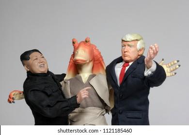 JUNE 22 2018: Political Satire concept of US President Donald Trump and North Korean Supreme Leader Kim Jong-Un with Star Wars slapstick ambassador Jar Jar Binks
