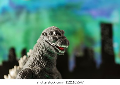 JUNE 22 2018: Recreation of a scene from a Godzilla movie, where the radioactive giant monster attacks a city