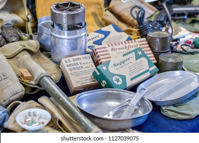 June 22 2018 St Joeph MI USA; display of vintage MRE rations, (meals ready to eat) mess kit, tools, and items for a American soldier during WW2