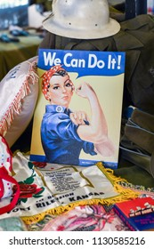 June 22 2018 st Joseph MI USA; symbolic poster from WW2, of Rosie the riveter, a  symbolic women who came to help the war effort when the men were sent to the war. On display at Lest we forget event