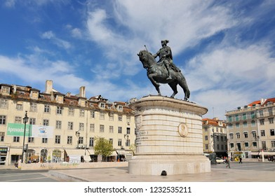 June 23, 2009. Portugal, Lisbon, Figueira square monument to king John I.