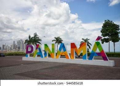 June 23, 2016 Panama City, Panama: the Panama sign on the Cinta Costera way inaugurated recently has become a popular photographic attraction for tourists