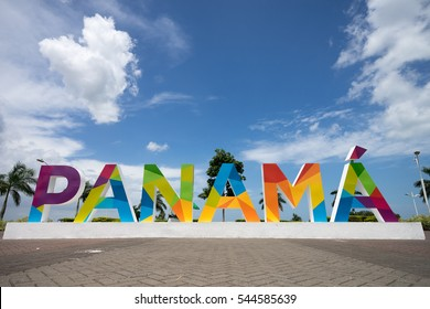June 23, 2016 Panama City, Panama: the Panama sign on the Cinta Costera way in the downtown of Panama inaugurated recently
