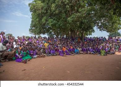 June 23, 2016: Soroti, Uganda. School children and teachers gather for an assembly