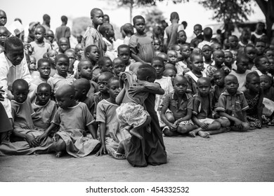 June 23, 2016: Soroti, Unganda. School children gather for an assembly to greet visitors from Drop in the Bucket