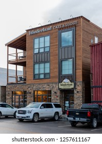 June 23, 2018: Gardiner, United States: Wonderland Cafe and Lodge in Gardiner, Montana offers a eco-friendly place for tourists to stay and eat