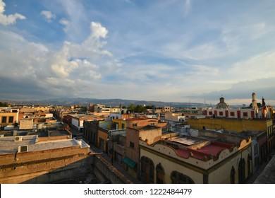 June 23, 2018. San Luis Potosí, Mexico. Panoramic view of the historic town as seen from the terrace of the Museo Palacio de San Agustín.