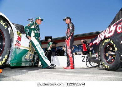 June 23, 2018 - Sonoma, California , USA: Clint Bowyer (14) and Kurt Busch (41) chat before qualifying for the TOYOTA/SAVE MART 350 at Sonoma Raceway in Sonoma, California .