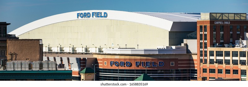 June 23, 2019. Ford Field. Ford Field is a domed American football stadium located in Downtown Detroit, MI, USA. Panoramic image.