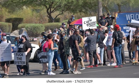 June 23, 2020 Phoenix, Arizona USA Dream City Church entrance with Black Lives Matter and Anti Trump protesters.
