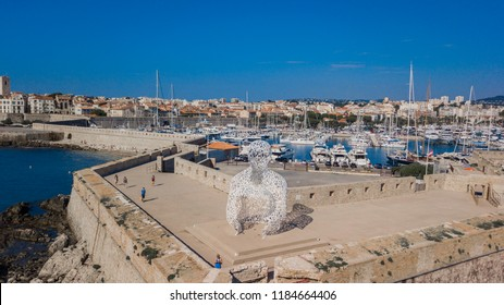June 23,2018: Aerial image of The Nomade, a large sculpture by Spanish artist Jaume Plensa, and a port of Antibes in French Riviera.