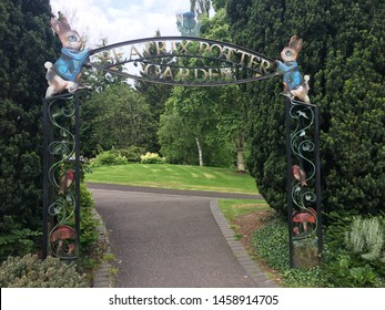 June 23rd 2019: Perthshire, Scotland - Entrance to the Beatrix Potter Garden In Dunkeld, Scotland