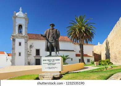 June 24, 2009. Statue of Dom Vasco da Gama in Sines, Portugal.