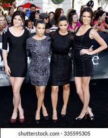 """June 24, 2010. Kylie Jenner, Kourtney Kardashian, Kendall Jenner and Kim Kardashian at the """"The Twilight Saga: Eclipse"""" Los Angeles premiere held at the Nokia Live Theater, Los Angeles."""