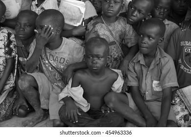 June 24, 2016: School children gather for assembly in Soroti, Uganda
