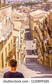 June 24, 2018 – Caltagirone, Sicily, Italy. A view from the top of a lovely town in Sicily, Italy. Looking down the famous 142 step staircase.