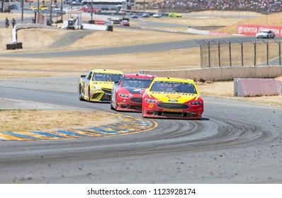 June 24, 2018 - Sonoma, California , USA: June 24, 2018 - Sonoma, California , USA: Joey Logano (22) Races through turn ten at the TOYOTA/SAVE MART 350 at Sonoma Raceway in Sonoma, California .