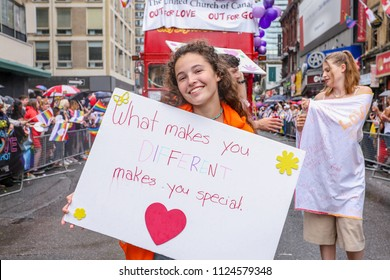 JUNE 24, 2018 - TORONTO, CANADA: GAY POSITIVE RELIGIOUS GROUPS MARCH AT 2018 TORONTO PRIDE PARADE.