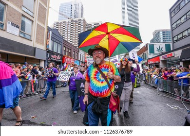 JUNE 24, 2018 - TORONTO, CANADA: ACE ASEXUALS GROUP MARCHES AT 2018 TORONTO PRIDE PARADE.