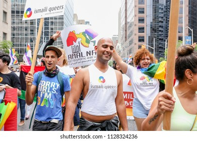 JUNE 24, 2018 - TORONTO, CANADA: ISMALI QUEER GROUP MARCHES AT 2018 TORONTO PRIDE PARADE.