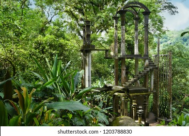 June 24, 2018. Xilitla, San Luis Potosí Mexico. Panoramic view of the Pools (Las Pozas) a surrealistic garden (Jardín surrealista) located in the subtropical rain forest of the Sierra Madre mountains.
