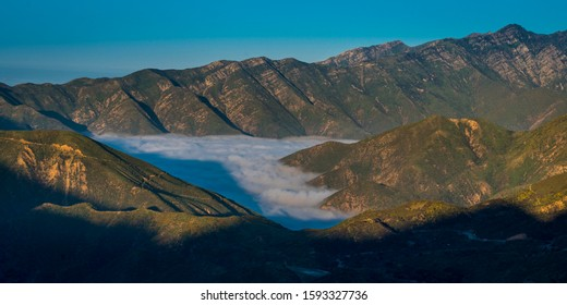 June 24, 2019, OJAI, CALIFORNIA, USA - Fog trapped in valley of Los Padres National Forest facing towards Santa Barbara, near Ojai, California off Highway 33