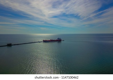 JUNE 25, 2018. LARGE COMMERCIAL SHIP DOCKED IN LAKE ONTARIO. CLARKSON, ONTARIO CANADA
