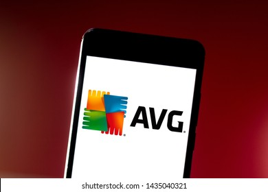 June 26, 2019, Brazil. In this photo illustration the AVG Antivirus logo is displayed on a smartphone.