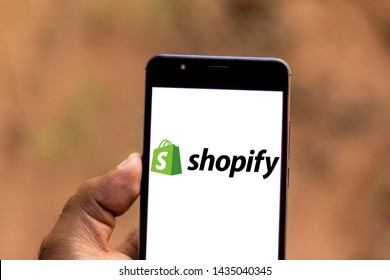 June 26, 2019, Brazil. In this photo illustration the Shopify logo is displayed on a smartphone.