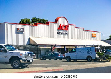June 26, 2019 Oakdale / CA / USA - ACE Hardware store entrance; ACE Hardware is the world's largest hardware retail cooperative