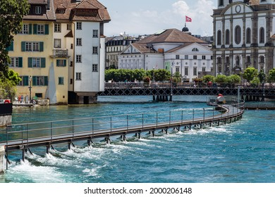 June 26, 2021, River Reuss with fully open sluices