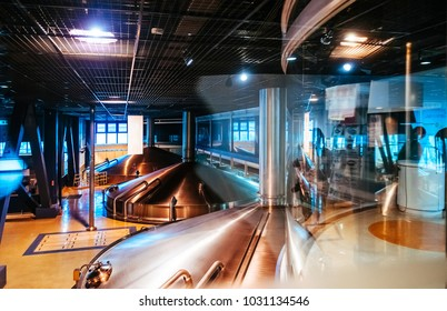 JUNE 27, 2014 - Kawasaki, Japan : Large Stainless steel fermentation vats in modern beer brewery factory plant.