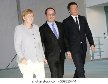 JUNE 27, 2016 - BERLIN: German Chancellor Angela Merkel, French President Francois Hollande and the Italian Prime Minister Matteo Renzi before a press conference before a meeting in the Chanclery.