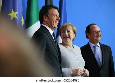 JUNE 27, 2016 - BERLIN: Italian Prime Minister Matteo Renzi, German Chancellor Angela Merkel and French President Francois Hollande at a press conference before a meeting in the Chanclery.