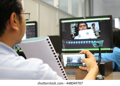June 27, 2016 : People study with augmented reality technology, develop augmented reality application at Chulalongkorn University Library, Bangkok, Thailand. Training by Thai OpenAR Team.