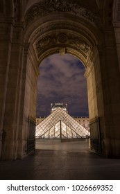 June 27 2017 ,PARIS, FRANCE, , No people, The Lourve pyramid  from the front door during night time, Paris