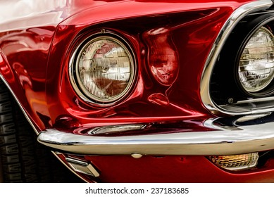 June 28, 2014 - Houston, TX, USA -1966 red Ford Mustang fastback