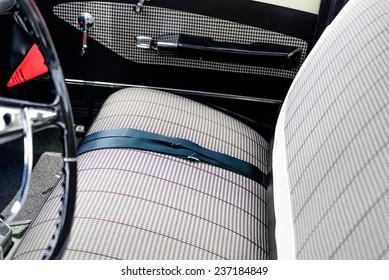 June 28, 2014 - Houston, TX, USA - 1961 blue and white Chevy Impala